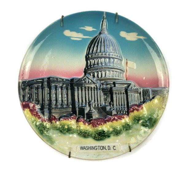 VTG 3D Souvenir Washington DC White House Plate